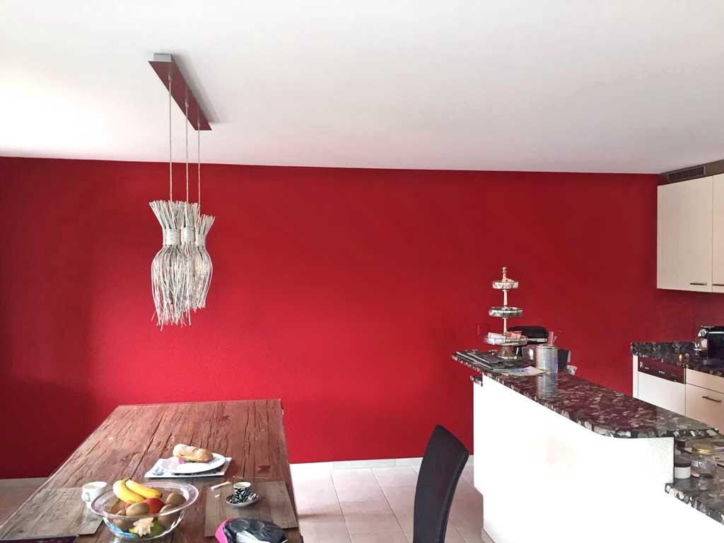 Malerarbeiten Regensdorf, Wandbemalung rot